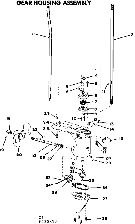 Craftsman 217585250 gear housing assembly diagram