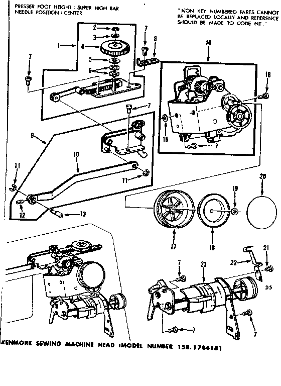 Kenmore 1581784181 zigzag guide assembly diagram