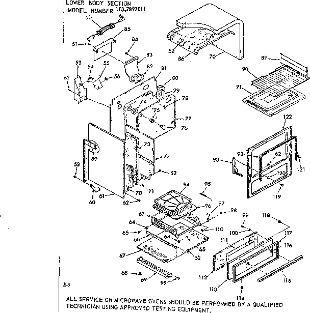 Kenmore 1037897811 lower body section diagram
