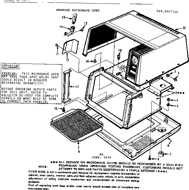 Kenmore 5649927710 cabinet parts diagram