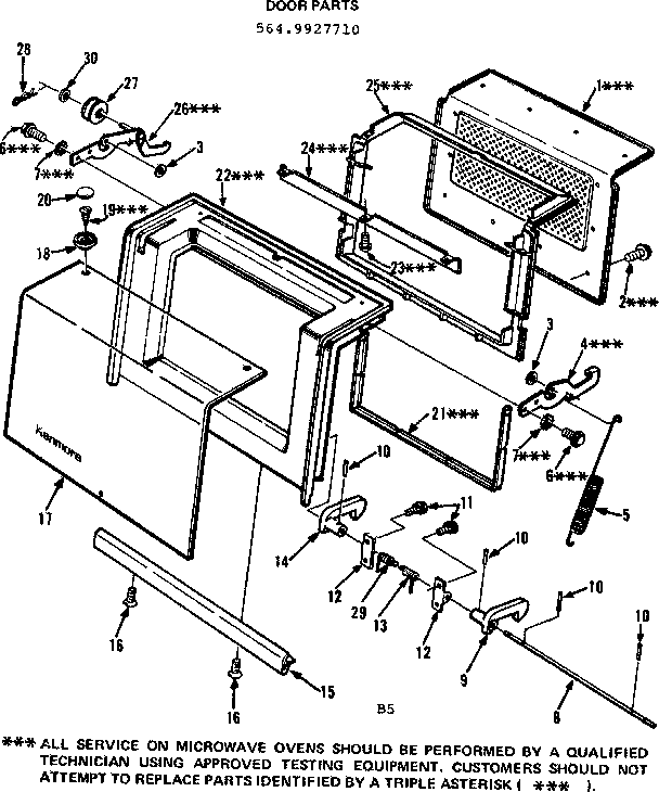 Kenmore 5649927710 door parts diagram