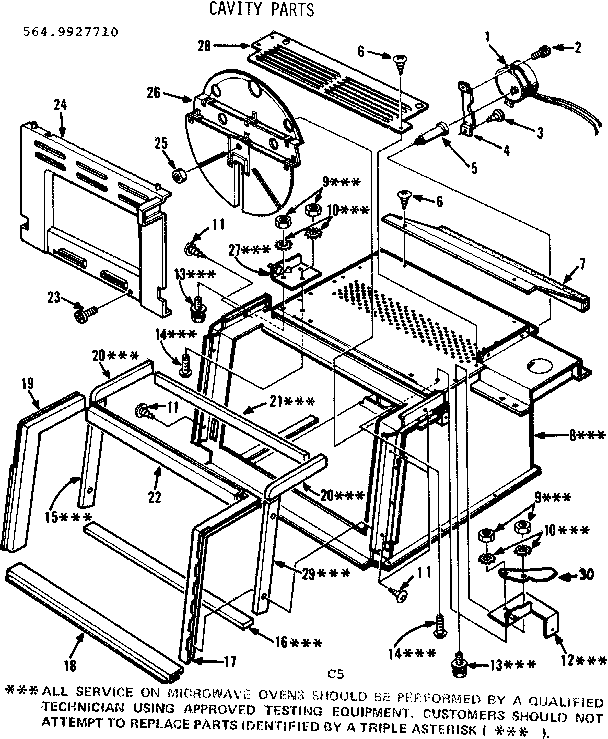 Kenmore 5649927710 cavity parts diagram