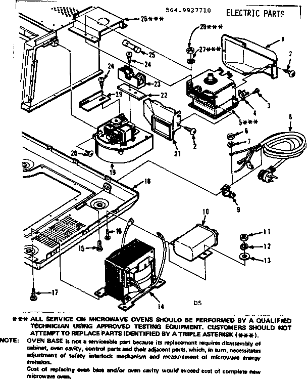 Kenmore 5649927710 electric parts diagram