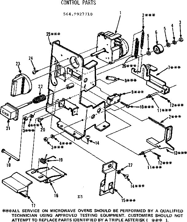 Kenmore 5649927710 control parts diagram