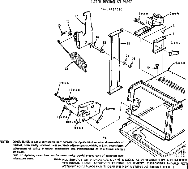 Kenmore 5649927710 latch mechanism parts diagram