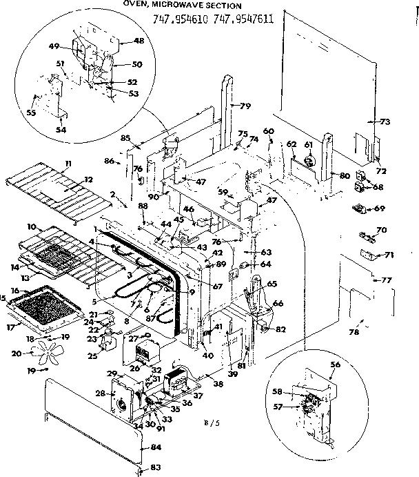 Kenmore 747954610 oven microwave section diagram