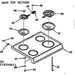 Kenmore 9116258012 main top section diagram