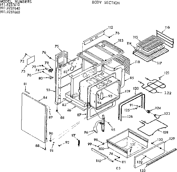 Kenmore 9119237640 body section diagram