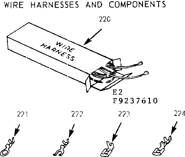 Kenmore 9119237640 wire harnesses and components diagram