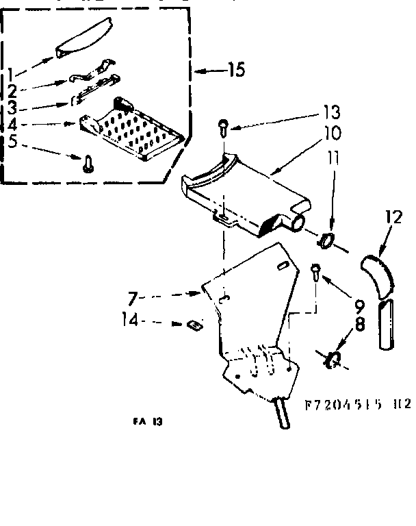Kenmore 1107204515 non-suds filter assembly diagram