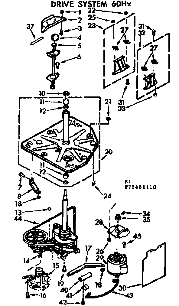 Kenmore 11072481610 drive system 60hz diagram