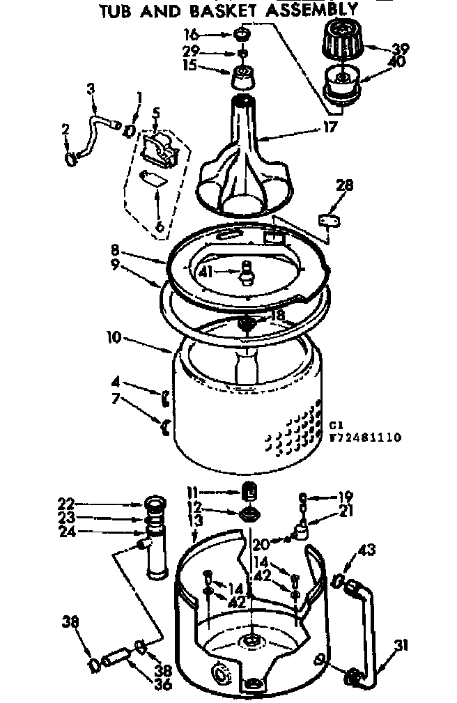 Kenmore 11072481610 tub and basket assembly diagram
