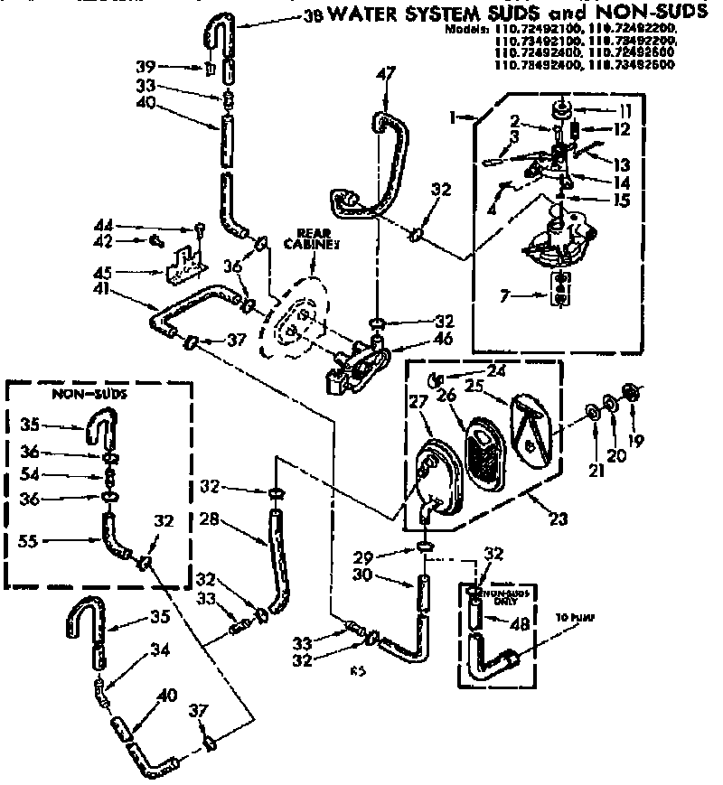 Kenmore 11072492100 water system suds and non-suds diagram