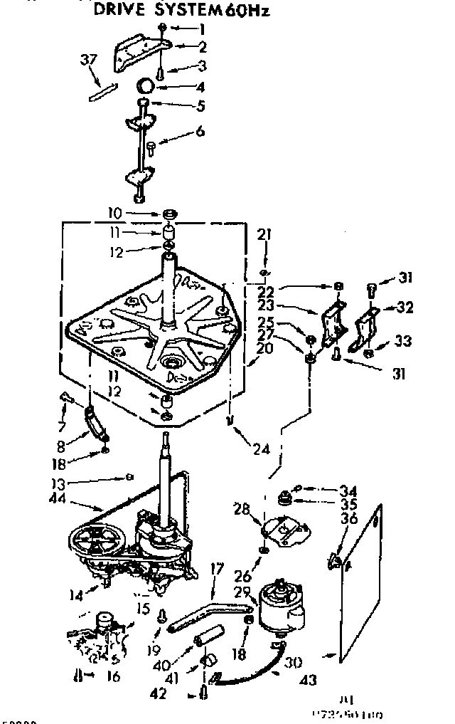 Kenmore 11073550600 drive system 60 hz. diagram