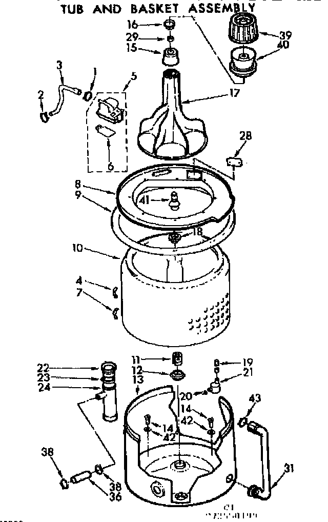 Kenmore 11073550600 tub and basket assembly diagram