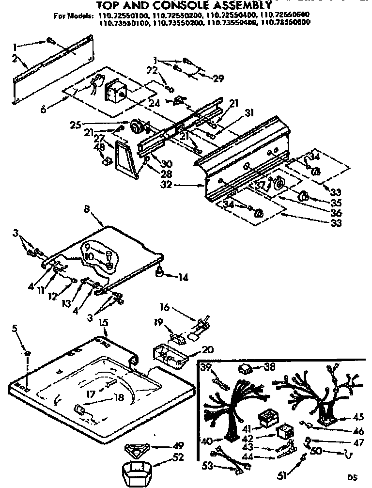 Kenmore 11073550600 top and console assembly diagram