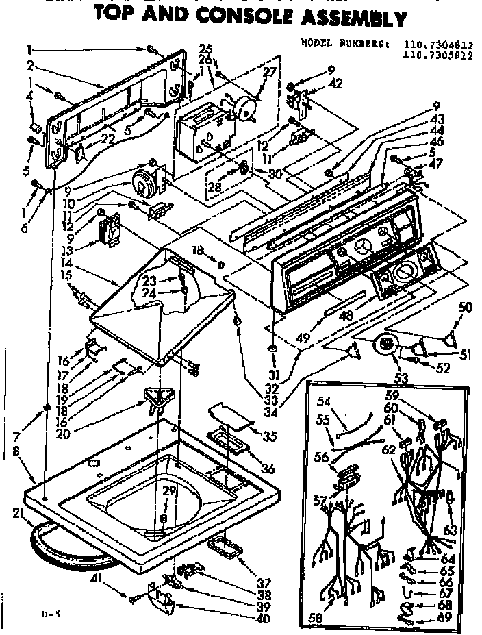 Kenmore 1107305812 top and console assembly diagram