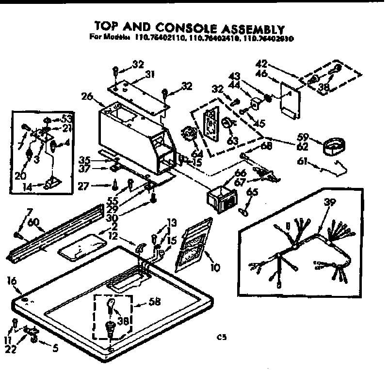 Kenmore 11076402610 top and console assembly diagram