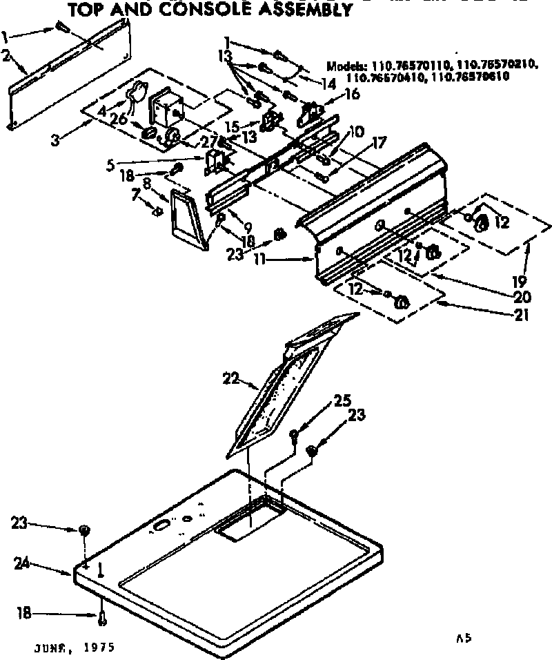 Kenmore 11076570610 top and console assembly diagram