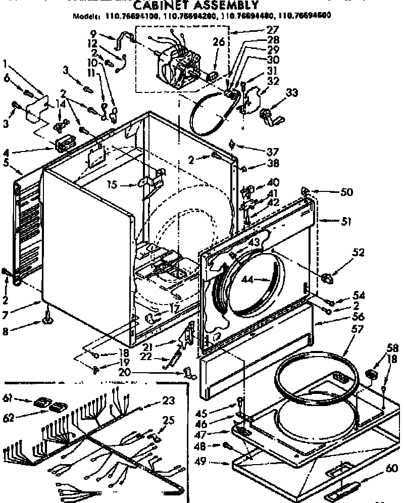 Kenmore 11076694600 cabinet assembly diagram