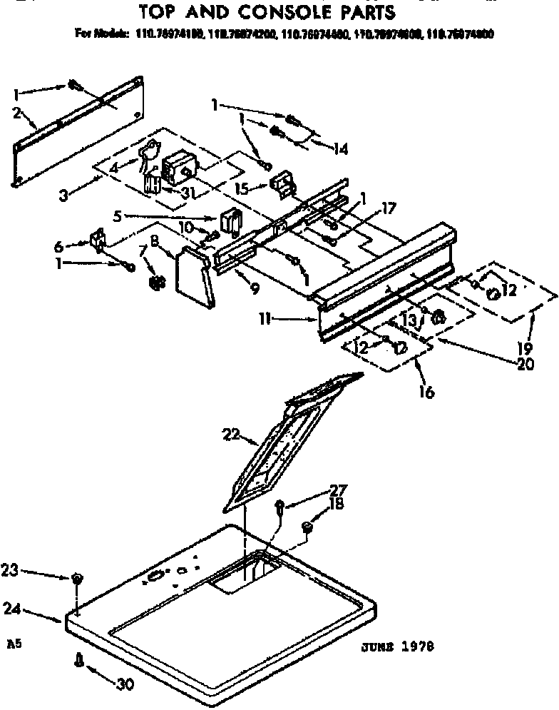 Kenmore 11076974400 top and console parts diagram