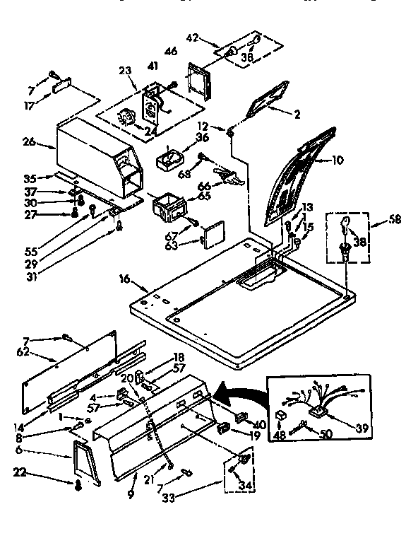 Sears 11077408840 top and console parts diagram