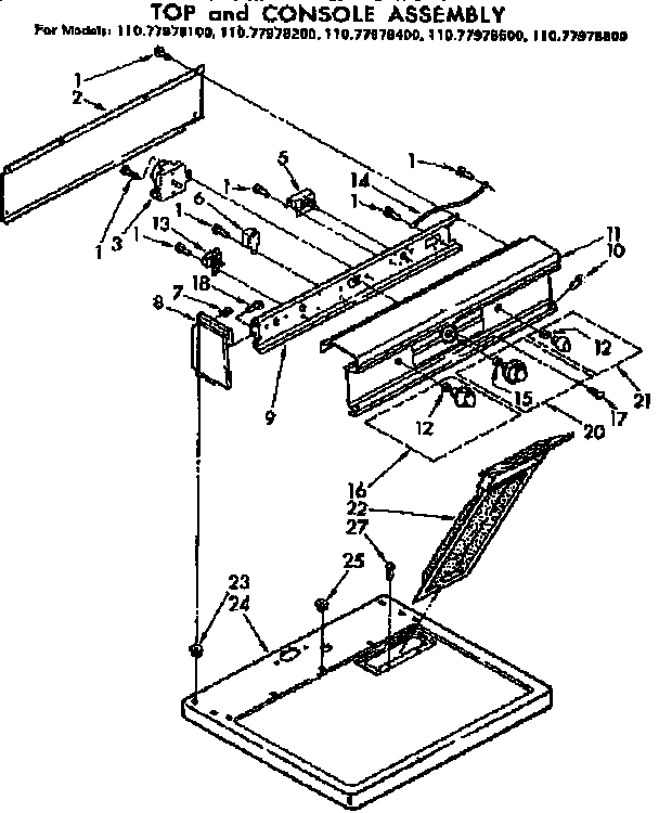 Sears 11077978400 top and console assembly diagram