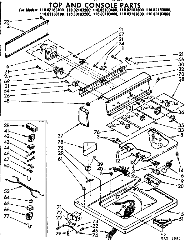 Kenmore 11082183600 top and console parts diagram