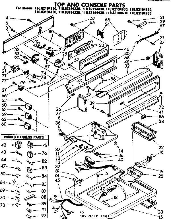 Kenmore 11083194830 top and console parts diagram