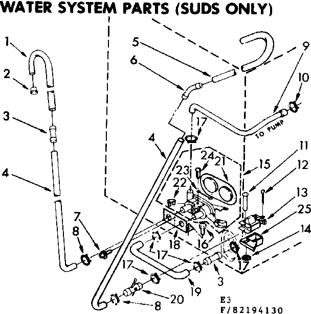 Kenmore 11083194830 water system parts suds only diagram