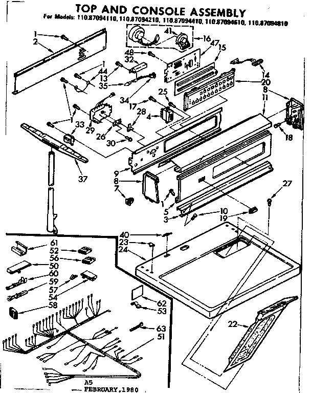 Sears 11087094110 top and console assembly diagram