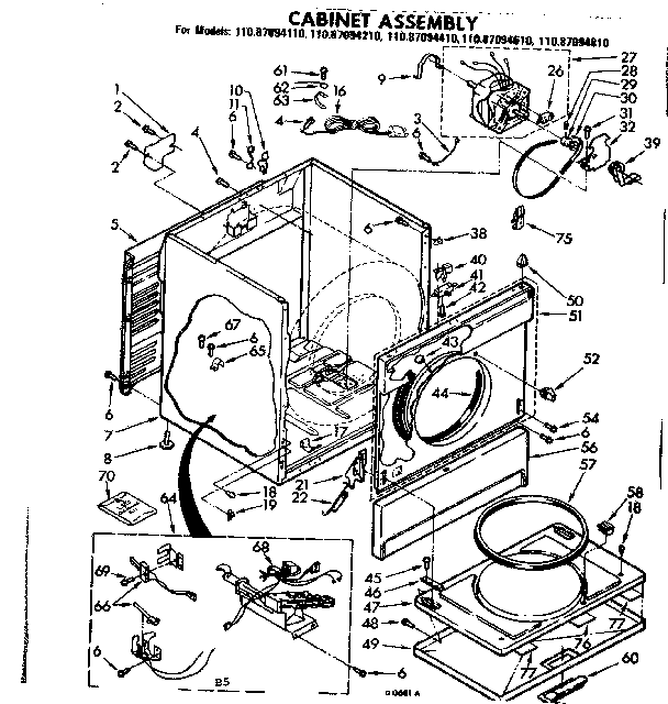 Sears 11087094110 cabinet assembly diagram