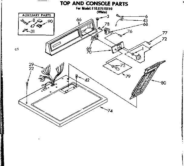 Sears 11087515110 top and console parts diagram