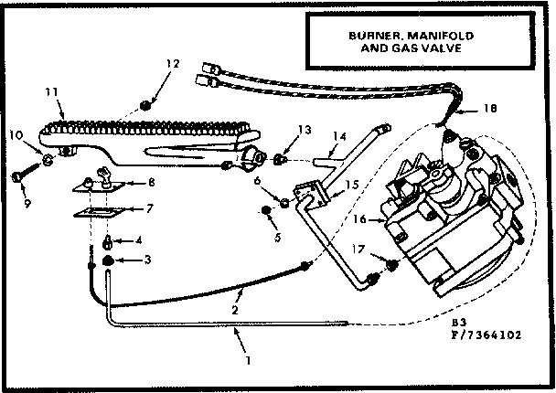 Kenmore 8677364102 gas burners and manifold diagram