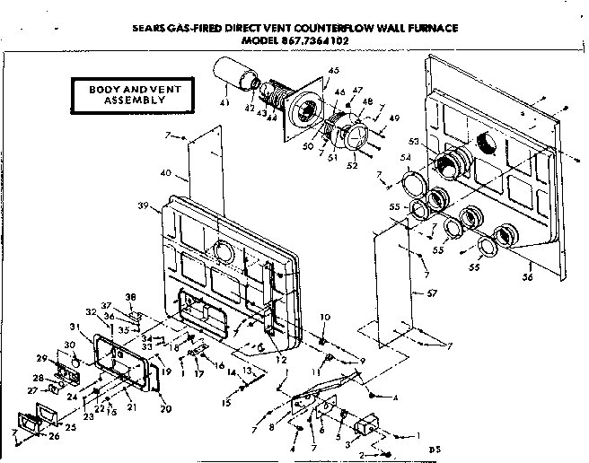 Kenmore 8677364102 body and vent diagram