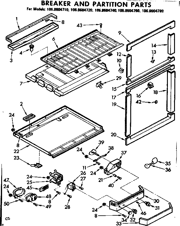 Kenmore 1068604740 breaker and partition parts diagram