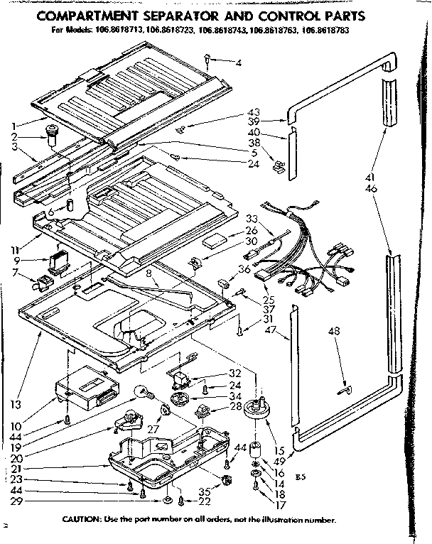 Kenmore 1068618743 compartment separator and control parts diagram