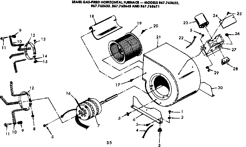 Kenmore 867763671 blower assembly diagram