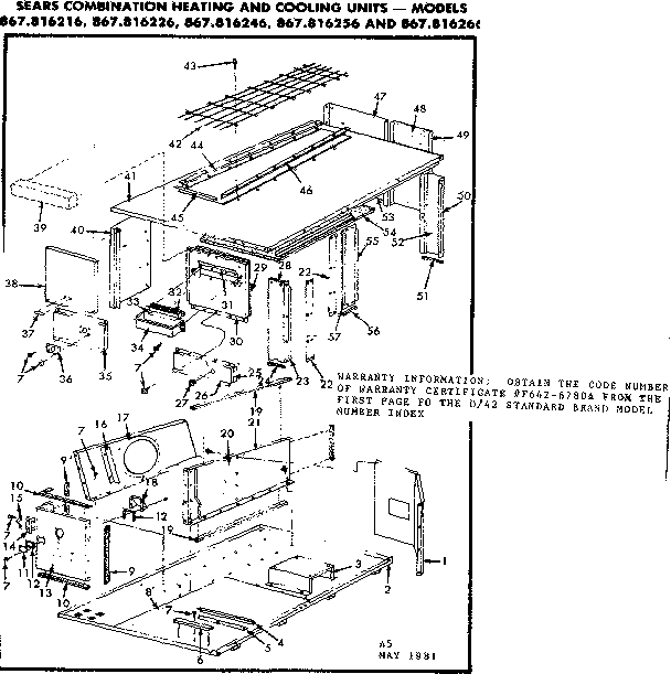 Kenmore 867816216 non-functional replacement parts diagram
