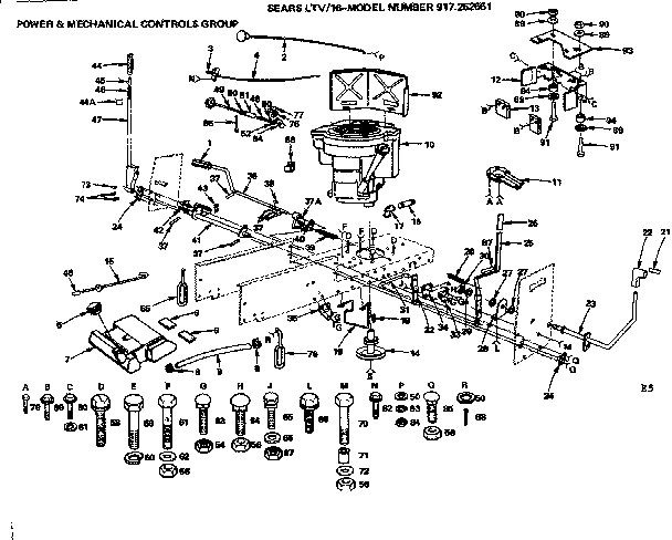 Craftsman 917252651 16 lawn tractor/power & mechanical controls group diagram
