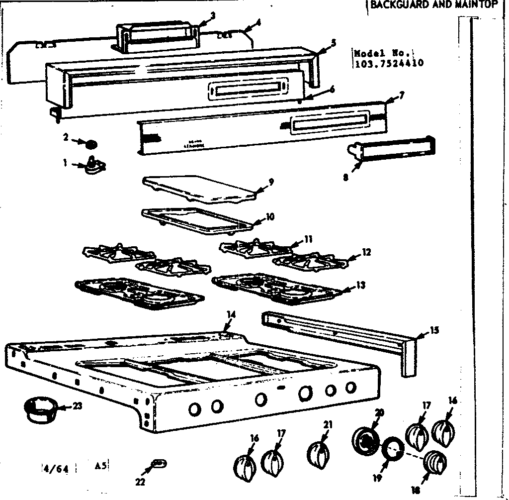 Kenmore 1037524410 background and maintop diagram