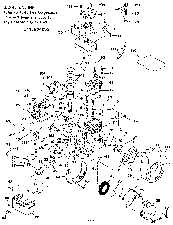 Craftsman 143624092 basic engine diagram