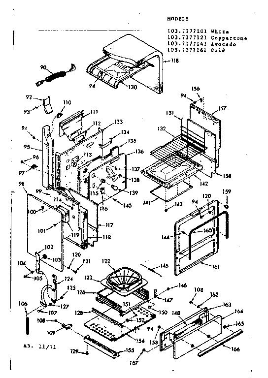Kenmore 1037177121 body section diagram