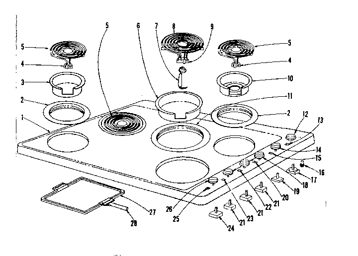 Kenmore 1019386460 cook top section diagram