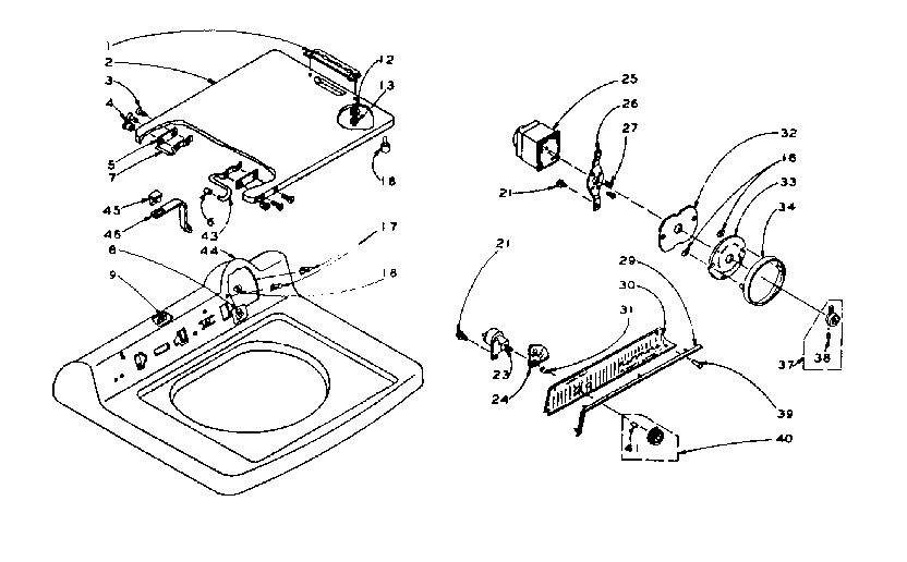 Kenmore 1105915451 machine top assembly diagram