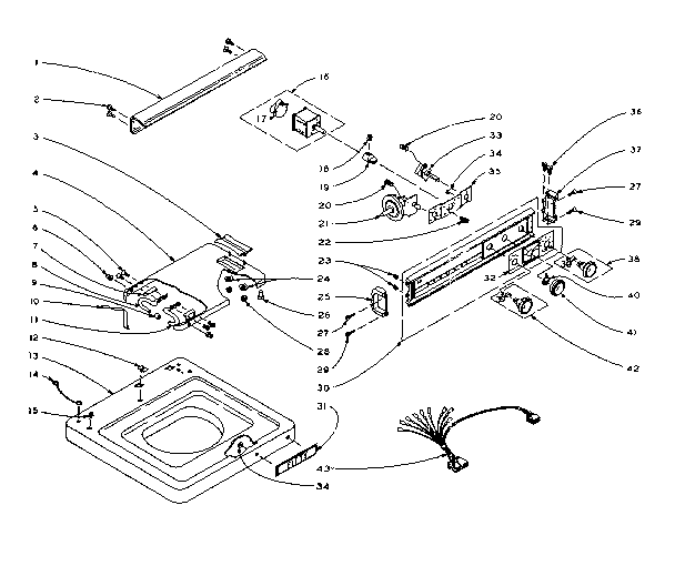 Kenmore 1106104550 machine top assembly diagram