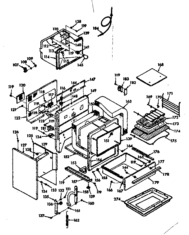 Kenmore 1039187242 body section diagram