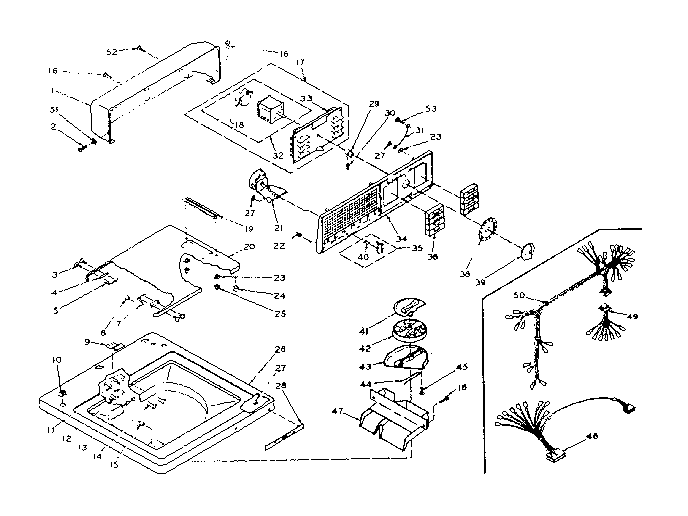 Kenmore 1106204301 top and console assembly diagram