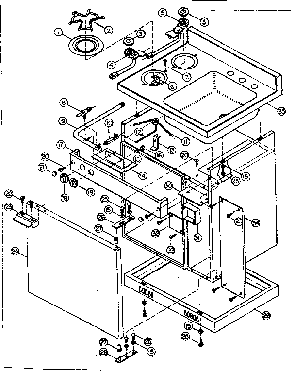 Kenmore 6127905321 cabinet and gas unit diagram