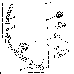 Kenmore 1162420082 hose and attachment parts diagram